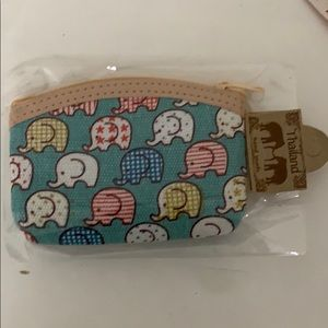 NWT Handmade Thailand blue elephant coin purse
